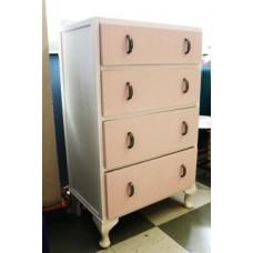 4 Drawer Pink & White Chest